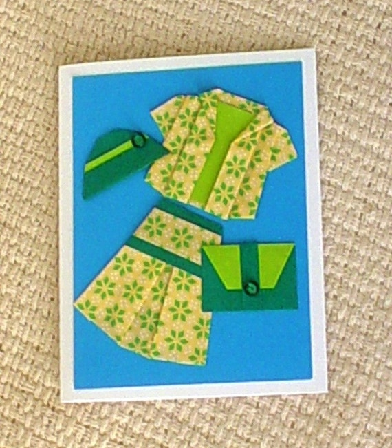 Ahhh - What to wear - What to wear - Origami Dress Greeting Card -N