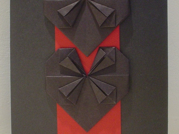 Simple Black Hearts On Red Panel Origami Card