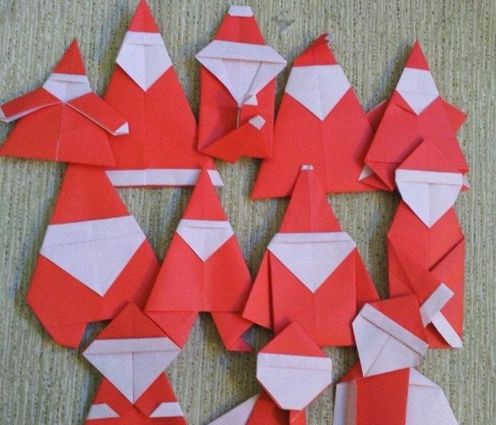 Origami Santa Ornament: CHRISTMAS In JULY Origami Santa Cheaper Buy The Dozen C