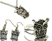 Matching Owl Ring, Necklace, and Earrings Set