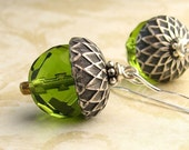 Olive Green Acorn Earrings Oxidized Silver Acorn Cap Fall and Autumn Harvest