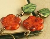 Pumpkin Orange Flower Earrings Autumn Earrings Autumn Jewelry Pumpkin Orange Flower Jewelry Woodland Earrings Green Leaf Earrings Autumn