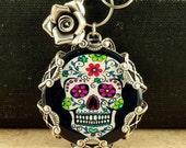 Sugar Skull Necklace Halloween Necklace Sugar Skull Jewelry Day of the Dead Necklace Dia de los Muertos Necklace Halloween Sterling Silver