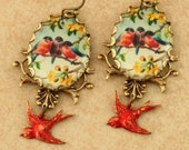 Red Robin Earrings Red Bird Earrings Robin Charm Bird Charm Bluebird Earrings Woodland Earrings Victorian Brass Filigree Earrings
