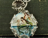 Blue Mermaid Necklace Seahorse Necklace Mermaid Pendant Beach Necklace Nautical Necklace Oyster Sterling Silver Filigree Mermaid Seashell