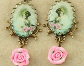 Victorian Cameo Earrings Victorian Woman Cameo Earrings Victorian Earrings Pink Rose Earrings Bird Victorian Style Brass Filigree