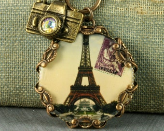 Eiffel Tower Necklace Eiffel Tower Pendant Paris Necklace Camera Necklace French Necklace Brass Filigree Necklace Camera Charm