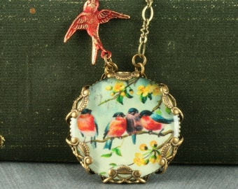Red Robin Necklace Red Bird Necklace Robin Pendant Bird Pendant Bluebird Necklace Woodland Necklace Victorian Brass Filigree Necklace