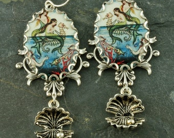 Mermaid Earrings Seahorse Earrings Oyster Silver Filigree Nautical Vintage Style Long
