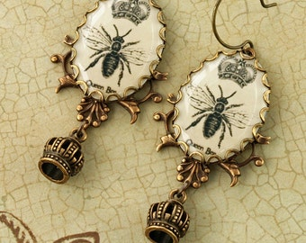 Queen Bee Earrings Honey Bee Earrings Crown Earrings Woodland Earrings Brass Filigree Earrings Victorian Earrings Altered Art