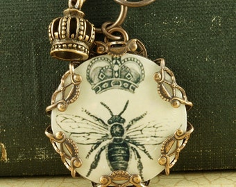 Bee Necklace Queen Bee Necklace Honey Bee Necklace Bumble Bee Necklace Crown Charm Brass Filigree Vintage Style