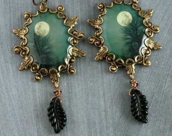 Teal Tree Earrings Full Moon Earrings Dangle Brass Leaf Earrings Gothic Earrings Black Leaves Halloween Autumn Woodland Winter Turquoise