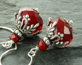 Red Christmas Earrings Christmas Jewelry Red Earrings Christmas Holiday Jewelry Red Crystal Earrings Victorian Christmas Gift for Her