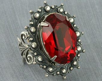 Red Crystal Ring Red Swarovski Crystal Ring Red Steampunk Ring Red Crystal Cocktail Ring Red Statement Ring Gothic Ring Silver Filigree Ring
