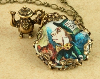 Mad Hatter Necklace Alice In Wonderland Necklace Teapot Necklace Brass Filigree Necklace Vintage Victorian Altered Art