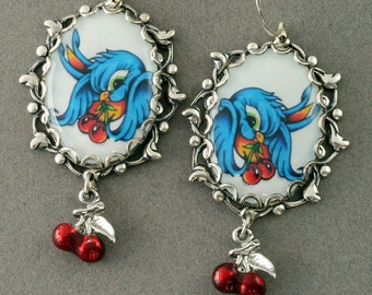 Bluebird Earrings Blue Bird Earrings Old School Tattoo Earrings Swallow Earrings Red Cherry Earrings Rockabilly Earrings Silver Filigree
