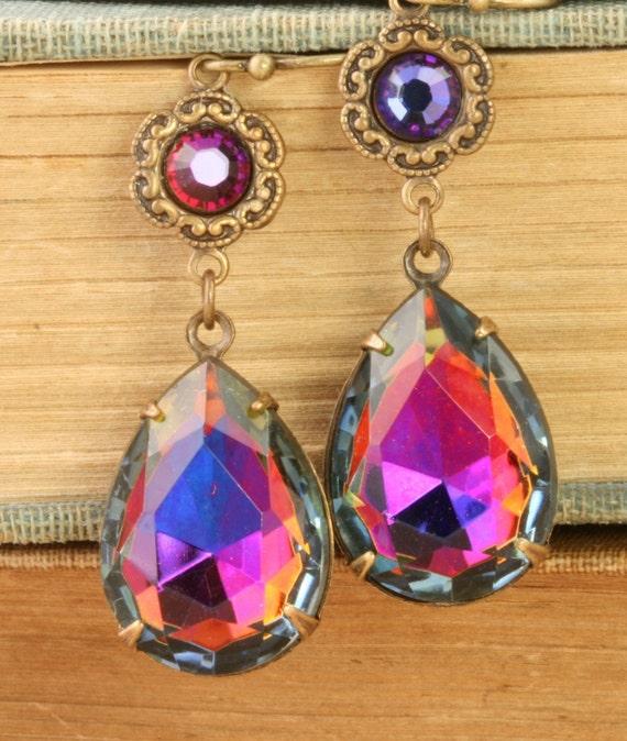 Jewel Tone Earrings Purple Teardrop Earrings Pink Teardrop Earrings Blue Teardrop Earrings Dangle Earrings Flower Earrings Brass