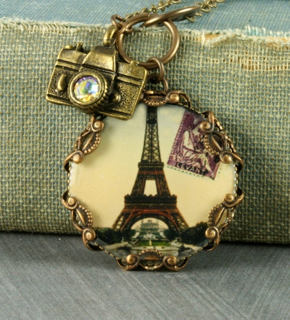 Eiffel Tower Necklace Eiffel Tower Pendant Paris Necklace Camera Necklace French Necklace Brass Filigree Necklace Camera Charm