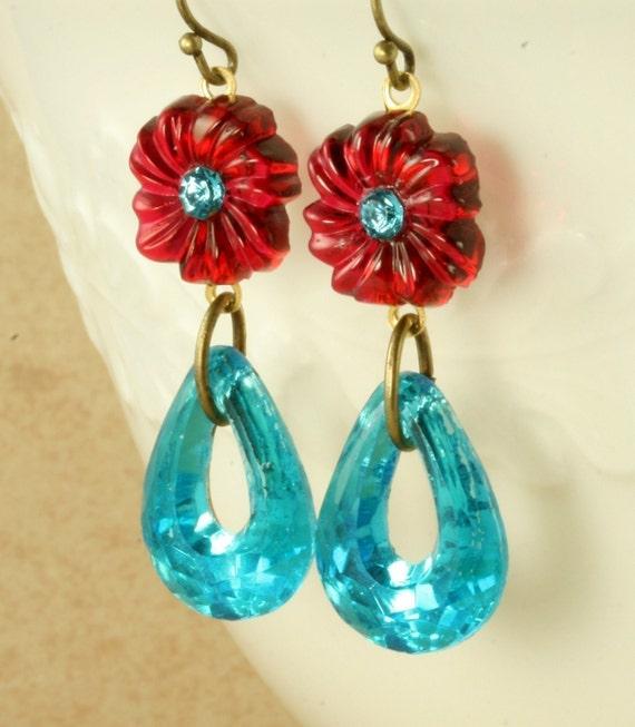 Red Flower Earrings Ruby Red Flower Earrings Aqua Turquoise Earrings Art Deco Earrings Teardrop Earrings