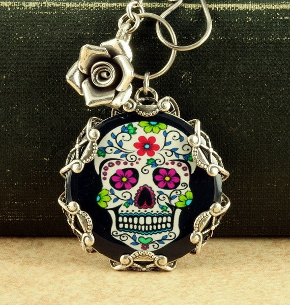 Sugar Skull Necklace Halloween Necklace Sugar Skull Jewelry Day of the Dead Necklace Dia de los Muertos Necklace Halloween Sterling Silver