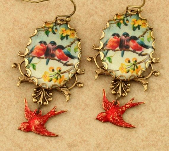 Red Robin Earrings Red Bird Earrings Robin Charm Bird Charm Bluebird Earrings Woodland Earrings Victorian Brass Filigree Earrings