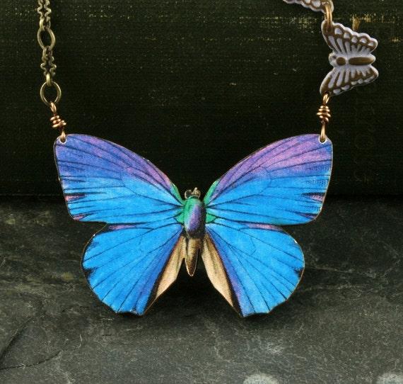 Butterfly Necklace Blue Butterfly Necklace Blue Morpho Butterfly Necklace Woodland Necklace Purple Brass Vintage Style