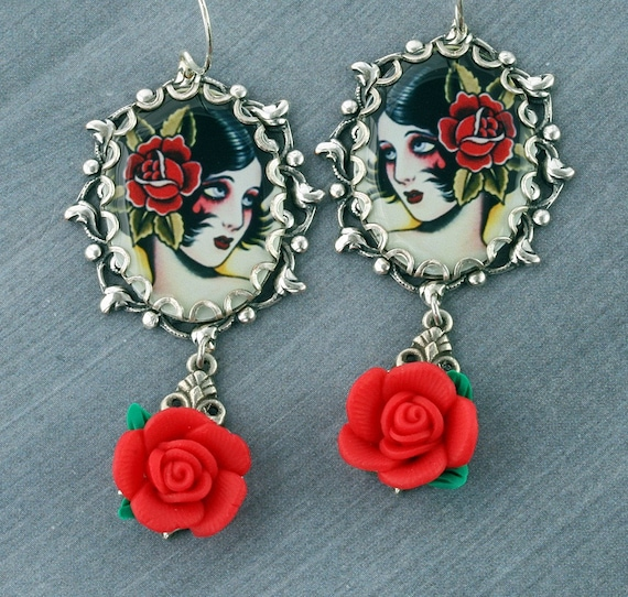 Pinup Girl Earrings Tattoo Earrings Gothic Earrings Red Rose Silver Filigree Old School Tattoo Flash