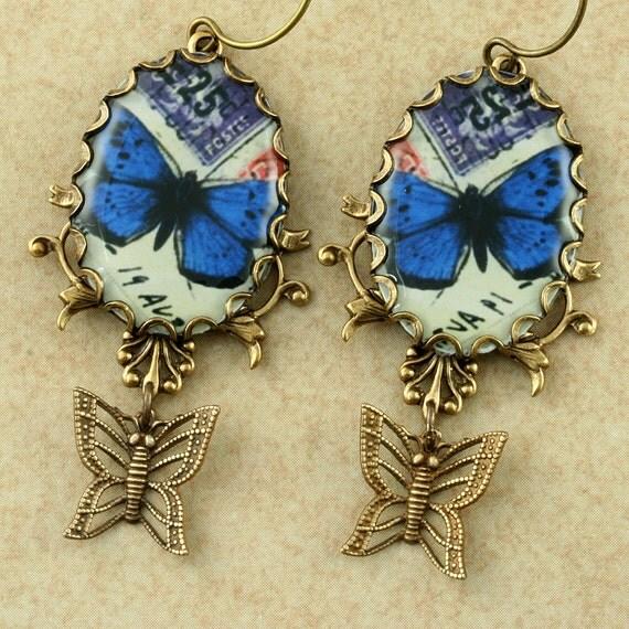 Blue Butterfly Earrings Blue Morpho Butterfly Earrings Brass Butterfly Earrings Woodland Earrings Victorian Earrings Dangle Brass Filigree