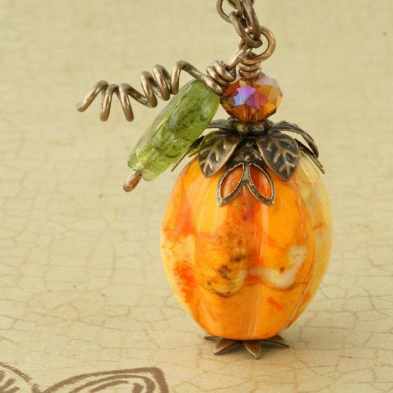 Pumpkin Necklace Halloween Necklace Pumpkin Jewelry Halloween Jewelry Orange Pumpkin Necklace Pumpkin Pendant Autumn Necklace Fall Necklace