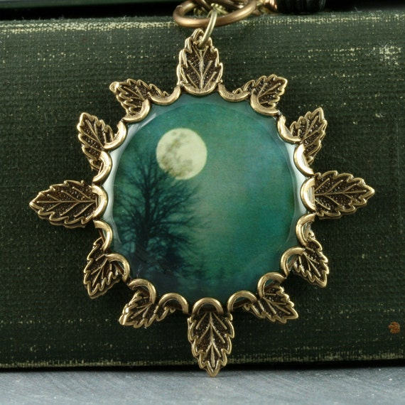 Teal Tree Necklace Full Moon Necklace Moon Tree Pendant Brass Leaf Necklace Woodland Necklace Black Leaves Halloween Autumn Gothic Winter