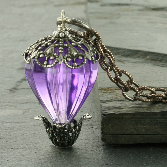 Purple Hot Air Balloon Necklace Purple Necklace Victorian Necklace Silver Filigree Necklace