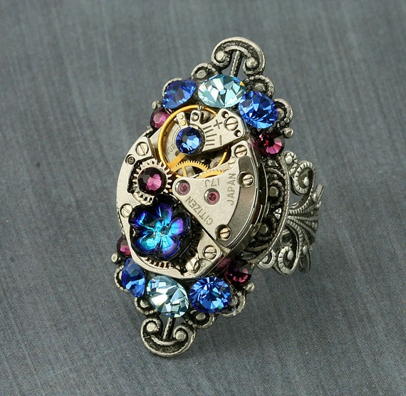 Steampunk Ring Steampunk Jewelry Steampunk Jewellery Adjustable Steampunk Ring Victorian Ring Steam Punk Jewelry Steam Punk Ring Watch Ring