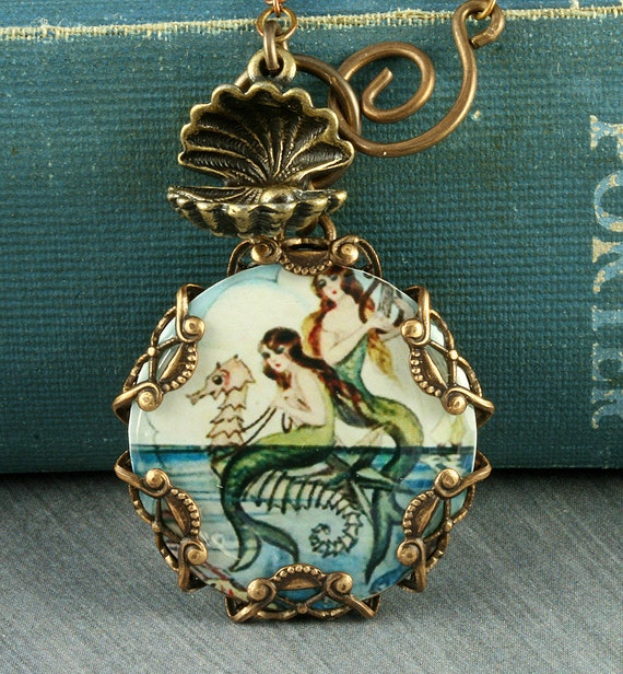 Blue Mermaid Necklace Seahorse Necklace Mermaid Pendant Beach Necklace Oyster Brass Filigree Vintage Mermaid Seashell Altered Art