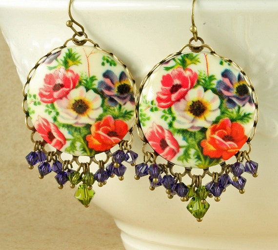 Purple Flower Earrings Orange Flower Earrings Flower Cameo Earrings Victorian Earrings Olive Green Purple Swarovski Crystal Brass