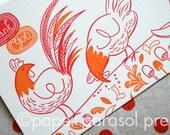Thank You Chicken Letterpress Card - SALE