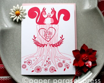Love You Squirrels Letterpress Card- SALE