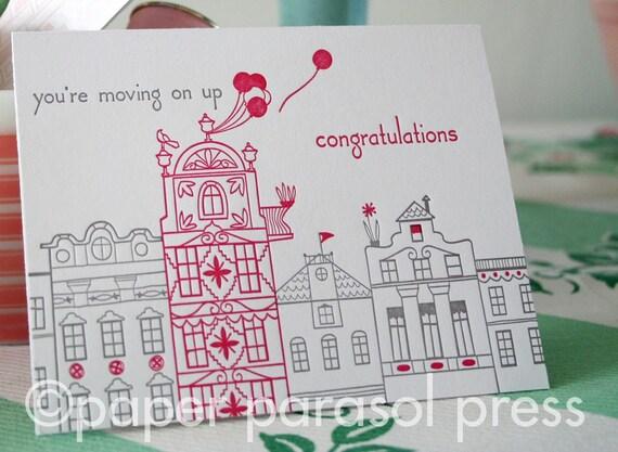 Arcade Houses Congratulation Letterpress Card - SALE