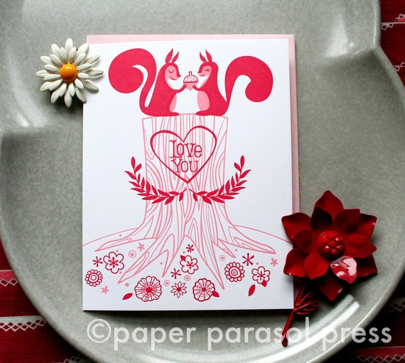 Love You Squirrels Cute Letterpress Card