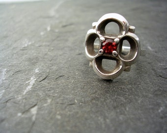 Large Gothic Ring with Garnet