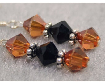 Amber and Black Swarovski Earrings