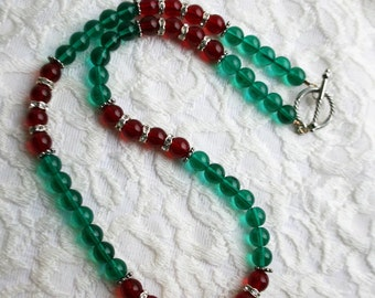 Red and Green Necklace and Earrings