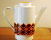 Vintage 1960s Retro Orange White and Brown Melitta Coffee Pot