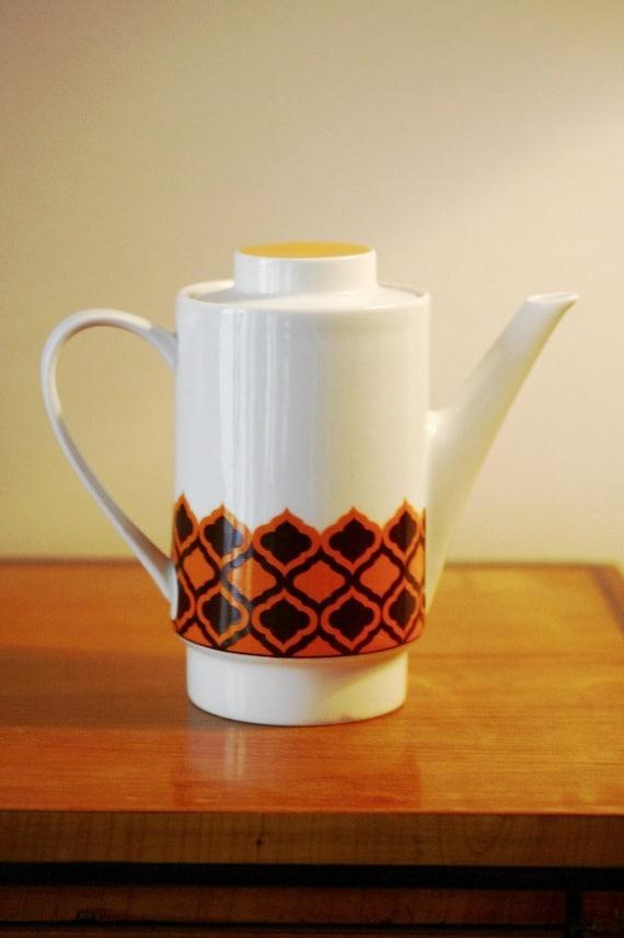 Vintage 1960s Retro Orange White and Brown Melitta Coffee Pot