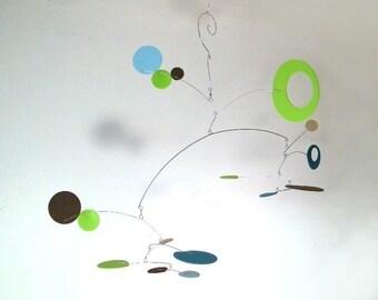 Modern Art Mobile, Modern Nursery Decor - The Nebula, in Lime Breeze
