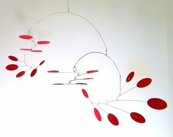 Mid-Century Modern Mobile, Calder Style Mobile, Kinetic Mobile - The Supernova, in Deep Red