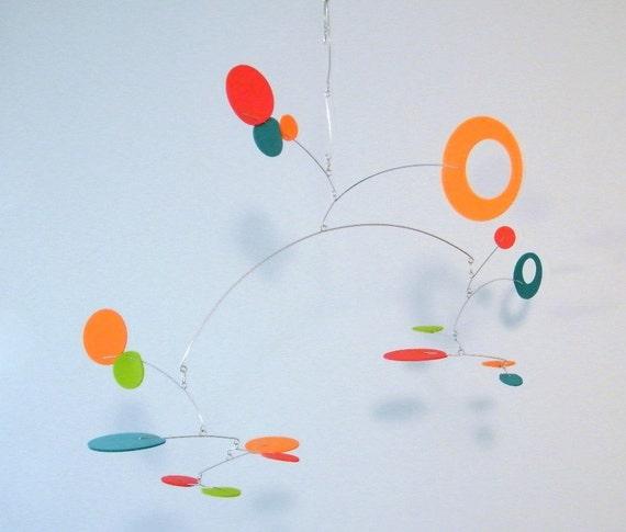 Modern Nursery Decor, Playroom Art, Kinetic Baby Mobile - The Nebula Mobile in Harlequin