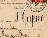 Instant Download FRENCH CALLIGRAPHY Unique Postcard Back Curved Message Scrapbooking graphic DIGITAL scan