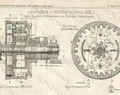 DIGITAL scan  STEAMPUNK blueprint Gears Antique FRENCH Elevator Motor