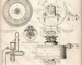 No. 1 STEAMPUNK Gears Antique FRENCH Elevator Motor BLUEPRINT Digital scan