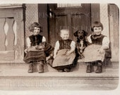 Instant Download DACHSHUNDS Doxies with Victorian Edwardian Children Antique French Photo Digital Scan